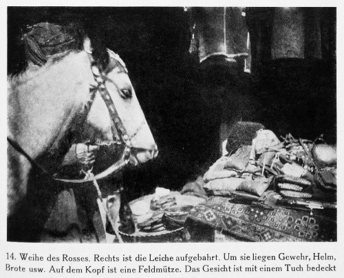 A horse being consecrated to the soul of a dead man in Khevsureti in 1927