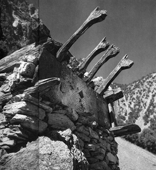 Fosco Maraini's photographs of the altar of Mahandeo Dur among the Kalash people of the Bumboret Valley in Chitral