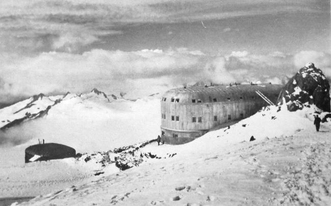 The lodge or hut below Mt Elbruz, occupied by German troops in the Caucasus in 1942