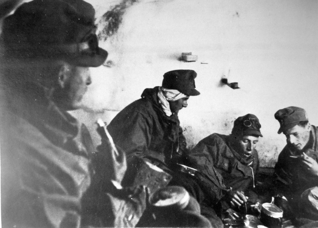 German mountain troops shelter from the approaching winter in a snow cave in the Caucasus mountains