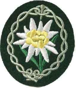 The edelweiss flower, tactical emblem of the German 1st Mountain Division of Gebirgsjäger