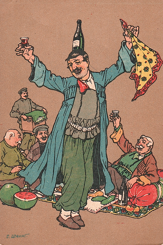 Oskar Schmerling's caricature of a kinto's dance in old tbilisi