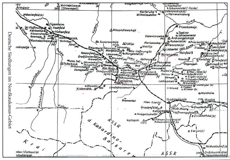 Deutsche Siedlungen im Nordkaukasus-Gebiet