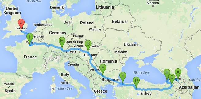 Batsav Overland To Georgia From London By Rail