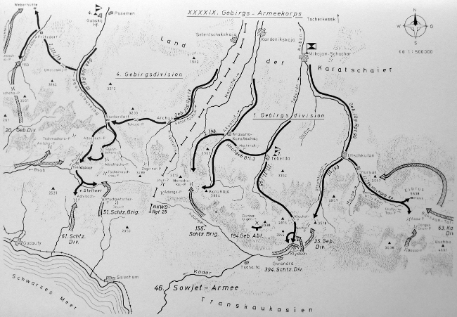 A map of the 1st and 4th German mountain divisions' advance into the Caucasus mountains in 1942